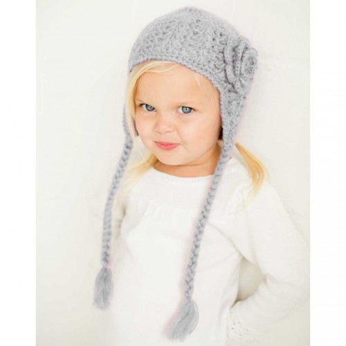Lacy Flowered Earflap Beanie - Grey