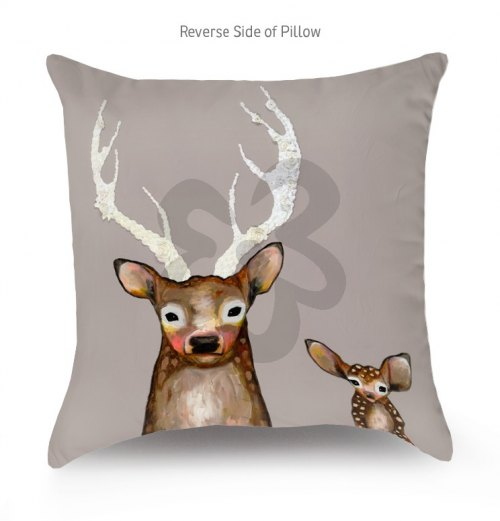 Reversible Animal Pillow : Reversible Throw Pillow - Forest Friends