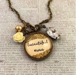 Glitter & Glass Necklace - Bronze Beautiful Mess