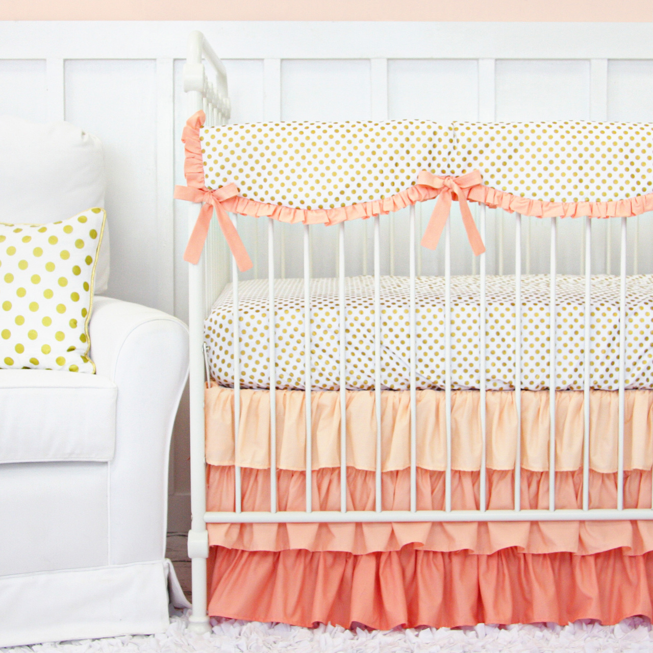 caden lane coral and gold dot ruffle baby bedding