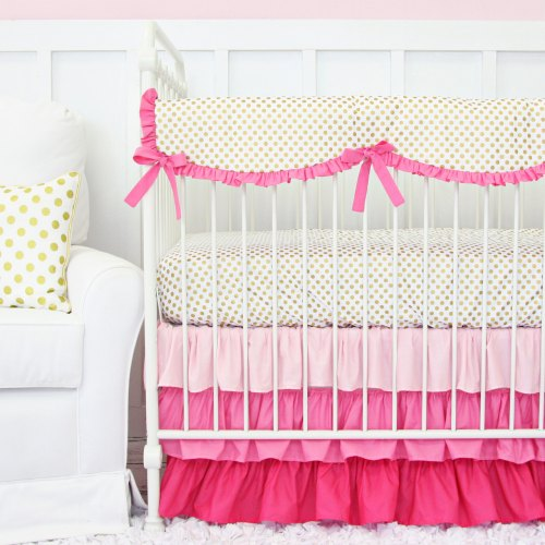 Caden Lane Pink and Gold Dot Ruffle Baby Bedding