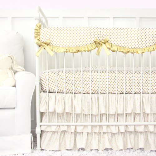 Caden Lane Gold Dot Sparkle Ruffle Baby Bedding