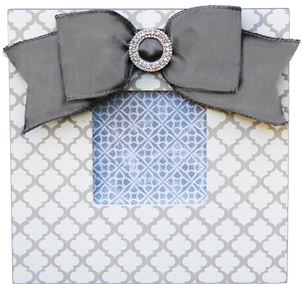 Gray Trellis Embellished Frame