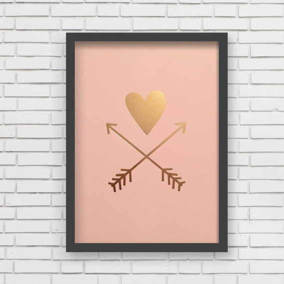 Lucy Darling Heart & Arrows Metallic Art Print - Pink