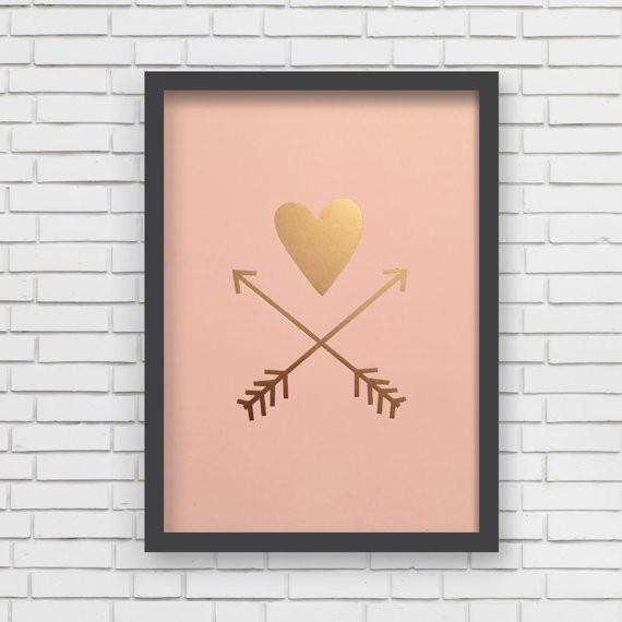 Lucy Darling Heart & Arrows Metallic Art Print - Pink