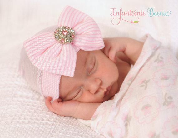 Newborn Beenie - Bling Bow