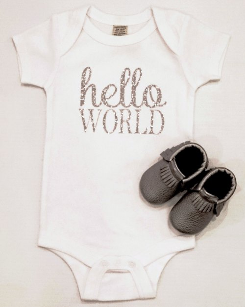 Hello World Onesie - Silver Sparkle