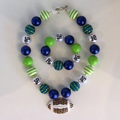 Seahawks Bubble Necklace - Bling Football