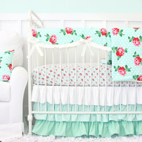 Caden Lane Mint Rose Baby Bedding