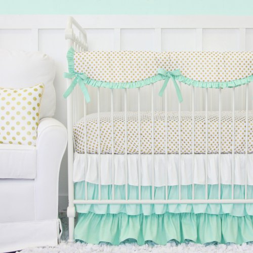 Caden Lane Mint and Gold Dot Ruffle Baby Bedding