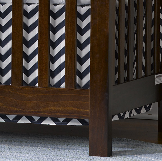 Liz and Roo Crib Skirt - Navy Chevron