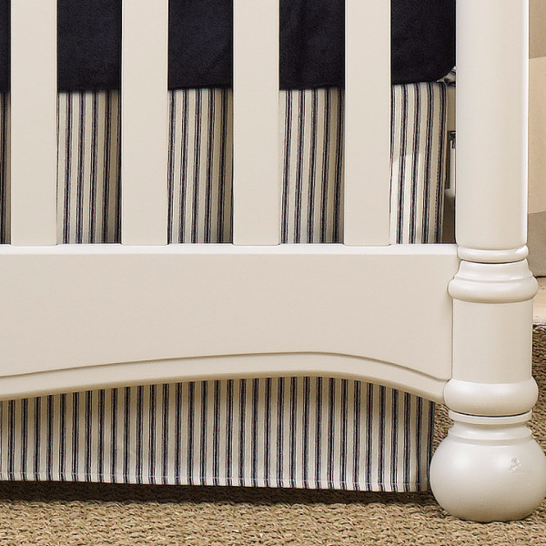 Liz and Roo Crib Skirt - Navy Ticking