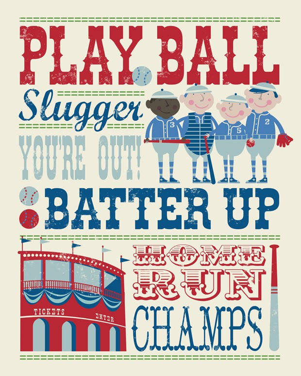 Play All Day Baseball Canvas