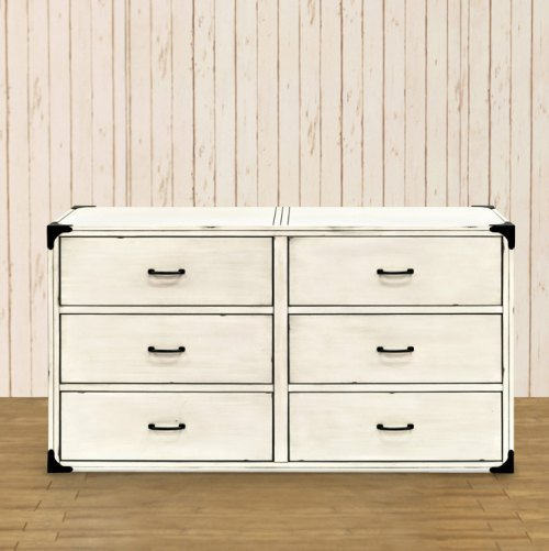 Franklin & Ben Providence 6 Drawer Dresser - Distressed White