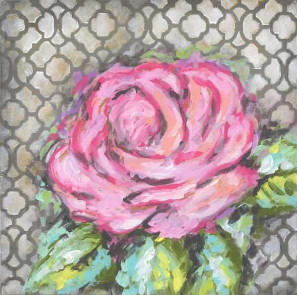 Pink Rose on Gray Abstract Canvas