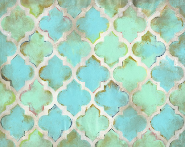 Aqua Moroccan Abstract Canvas