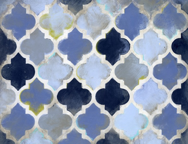 Navy Moroccan Abstract Canvas