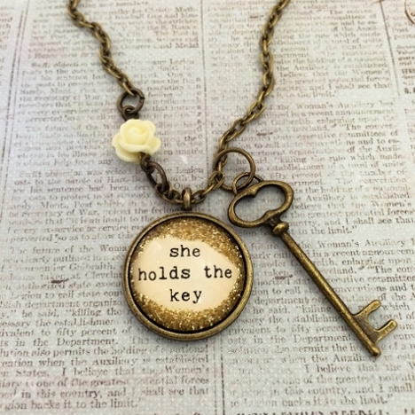 Glitter & Glass Necklace - Key