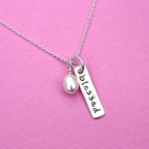 Sterling Silver Simply Blessed Necklace
