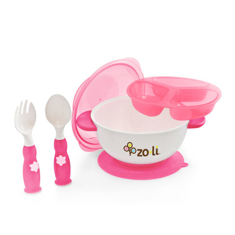 Zoli Stuck Suction Feeding Set - Pink