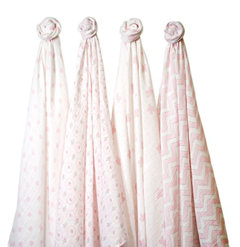 Swaddle Designs 4pk Muslin Swaddle Blankets - Pink Butterfly Fun