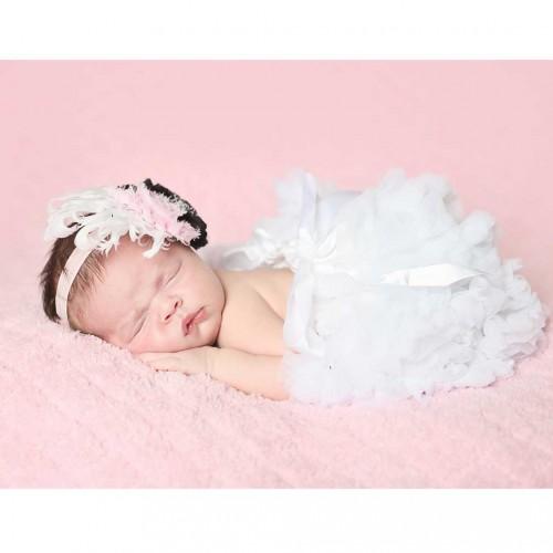 Huggalugs Newborn White Pettiskirt