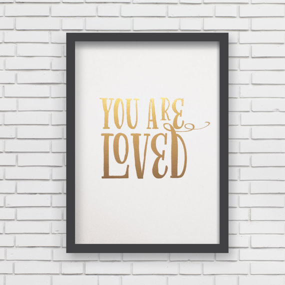 Lucy Darling You are Loved Metallic Art Print - White