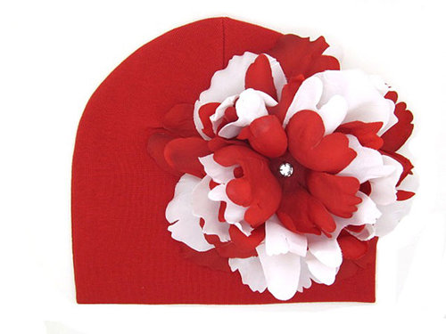 Red Hat with Red & White Peony