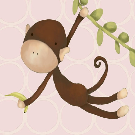 Hanging Monkey in Pink Canvas Reproduction