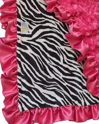 Little Yellow Chick - Hot Pink Zebra Blanket