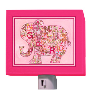 Pink Alphabet Elephant Night Light