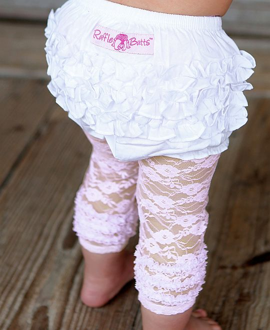 RuffleButts Pink Lace Capri Leggings/Tights