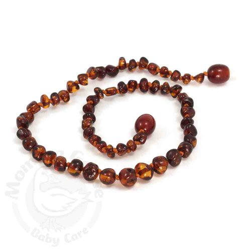 Amber Teething Necklace - Baroque Light Cherry