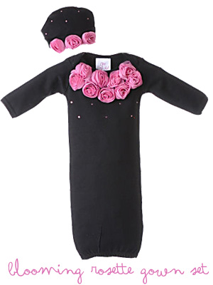Black Rosette Gown & Matching Hat