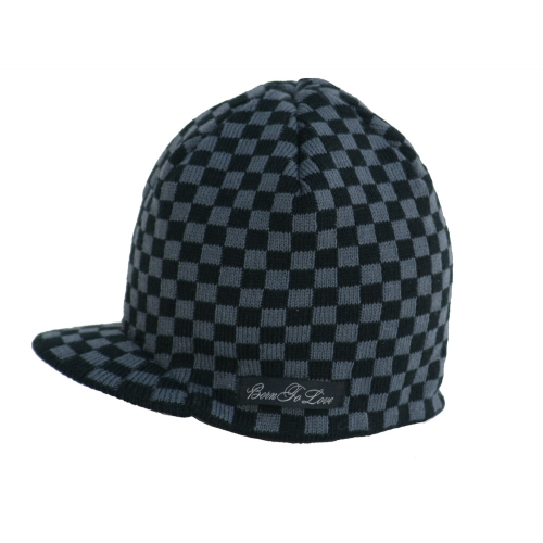 Born to Love Black & Grey Checkered Beanie