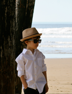 Born to Love Fedora Kids Hat - Tan with Brown Band