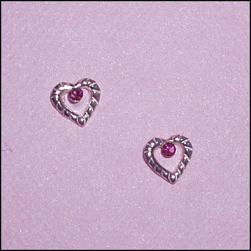 CM Heart w/Pink Crystal Earrings