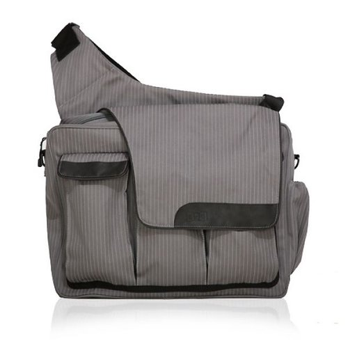 Diaper Dude Messenger II-Grey Pinstripe