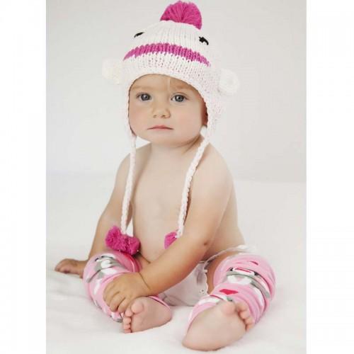 Huggalugs Baby Sock Monkey Pink