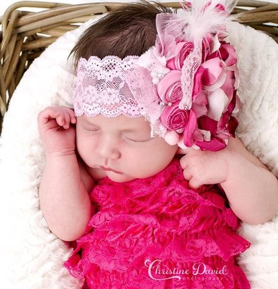 Hot Pink Couture Lace Romper
