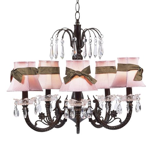 Mocha 5-Arm Chandelier with Pink/Brown Shades