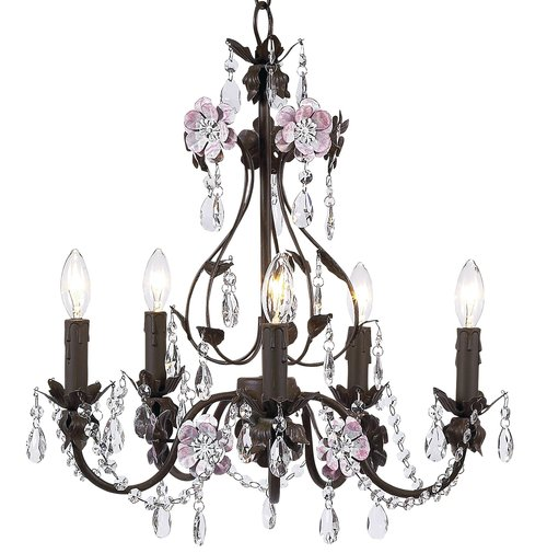 Mocha & Pink 5-Arm Flower Garden Chandelier