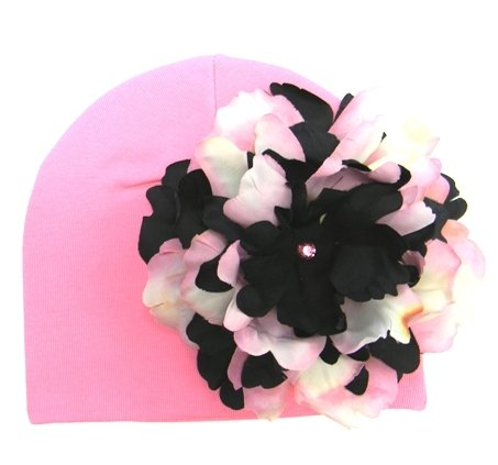 Candy Pink Hat with Pink & Black Peony