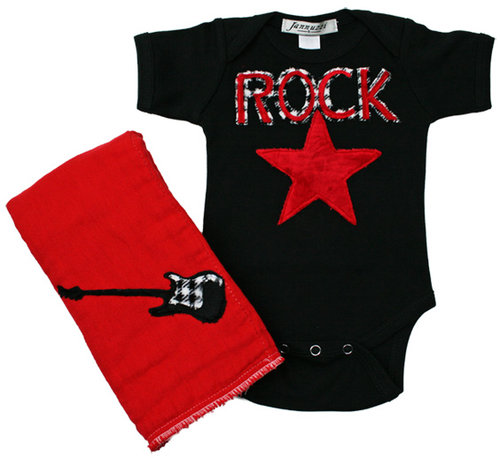 Rock Burp & Bodysuit Set- Red