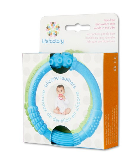 Lifefactory Silicone Teethers - Sky/Spring Green