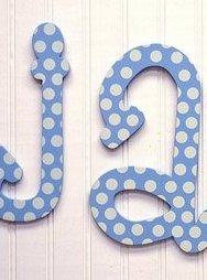 Blue Polka Dot Hanging Letters