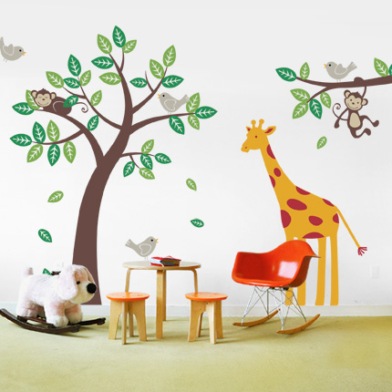 Tree w/ Monkeys, Giraffe & Birds