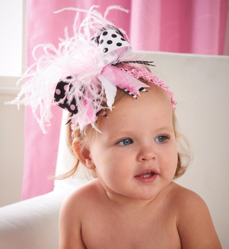 Mud Pie Black & Pink Ostrich Party Headband