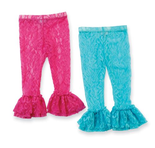 Mud Pie Hot Pink/Aqua Lacy Leggings