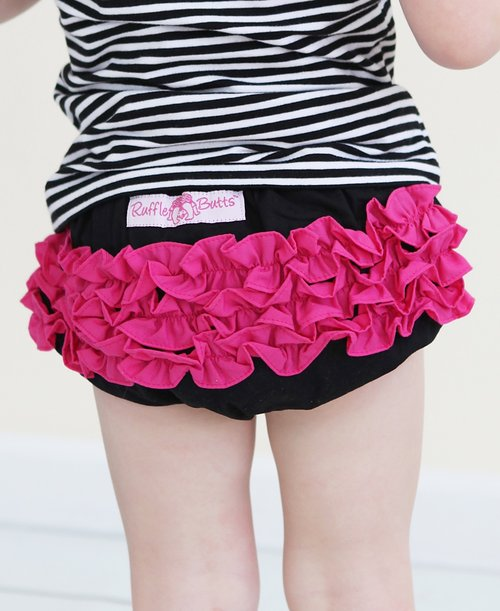 RuffleButts Black w/Fuchsia Bloomer